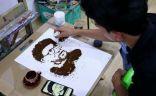 القهوة بدلا من ألوان الاكريليك.. أسلوب رسم فريد لفنان عراقي